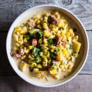 This andouille corn chowder is the perfect winter comfort food. Slightly spicy, full of flavor and a total crowd pleaser. Plus, it's ready in under an hour so you can make this delicious soup during the crazy weeknight dinner rush.