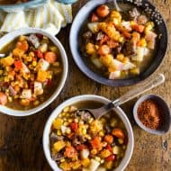 This Chilean carbonada soup is a classic dish found in Chile. It's pure comfort in the form of beef, corn, potatoes, pumpkin and carrots. It's easy to make and feels like comfort in a bowl. Plus, it's perfect for cool spring nights.