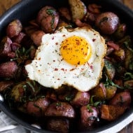 This basil bacon hash is the perfect way to start the day. Full of crispy red potatoes, fresh basil flavor and topped with a runny egg.