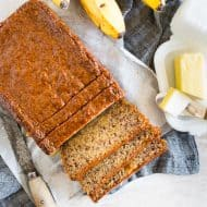 This coconut rum lime glazed banana bread is perfectly moist and glazed with the most delicious brown sugar coconut rum lime mixture. It's perfectly sweet and the perfect way to use up all those browning bananas. It's time to get into the kitchen and start baking!