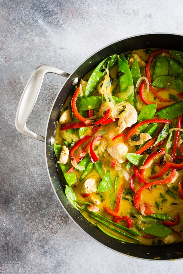 This chicken snow pea green curry cooks up in just 20 minutes and packed full of delicious curry flavor. This dish is fragrant, full of vegetables and the perfect crazy weeknight rush meal. Your whole family will love this dish!