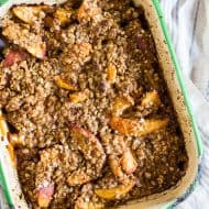 This ginger peach crisp is full of flavor and the perfect use for all your summer peaches. The ginger twist packs a punch in the flavor department and is delicious served plain or with a giant scoop of ice cream.