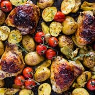 This sheet pan French dressing chicken thigh dinner is the perfect combination of Zesty French dressing tossed with baby potatoes, artichoke hearts and vine-ripened tomatoes. You'll love how easy it to throw together and how delicious it tastes!