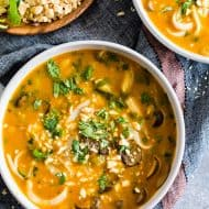 This vegan red curry pumpkin noodle soup is the perfect way to celebrate fall. Creamy pumpkin mixed with vegetable broth, coconut milk, mushrooms and baby bok choy all mixed together with Thai flavors and noodles for slurping.