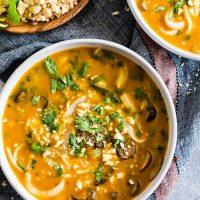 Vegan Red Curry Pumpkin Noodle Soup