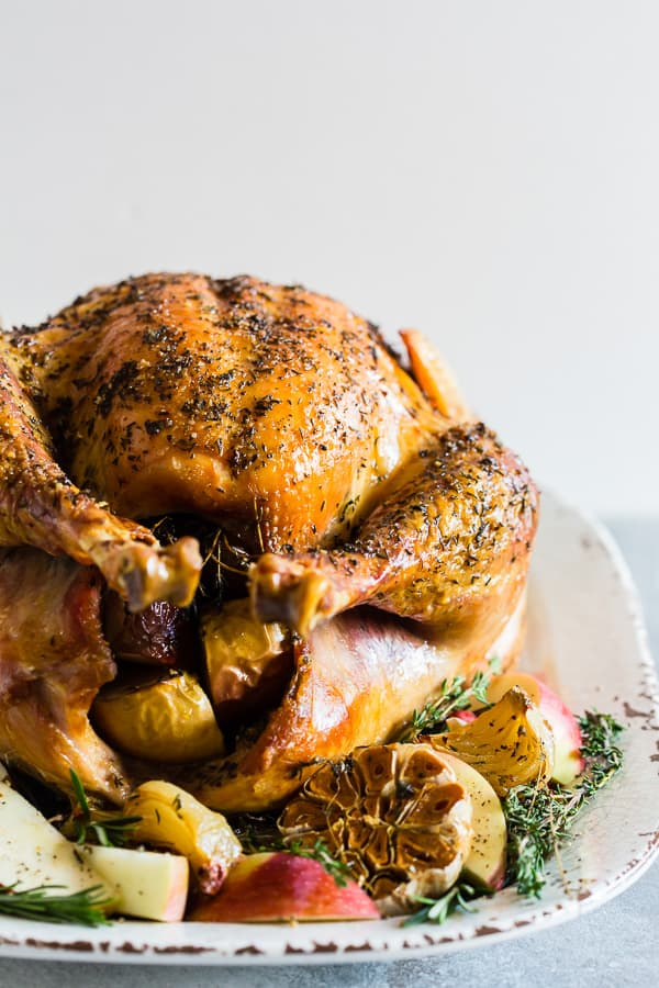 This garlic herb maple roast turkey is packed full of flavor with just a touch of maple syrup sweetness. It's the perfect addition to any holiday table!