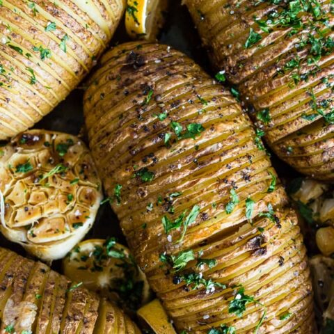 These lemon herb Hasselback potatoes are a great twist to a typicalroast potato. Packed full of lemon and garlic flavor they make a fun addition to any dinner table.
