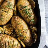These lemon herb Hasselback potatoes are a great twist to a typical roast potato. Packed full of lemon and garlic flavor they make a fun addition to any dinner table.