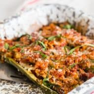 These chicken parmesan stuffed zucchini boats are packed full of Italian flavor and super easy to make. Made with ground chicken, fresh basil, Italianseasoning and diced tomatoes all stuffed into zucchiniboats and topped with mozzarella cheese. These are the perfect weeknight meal!