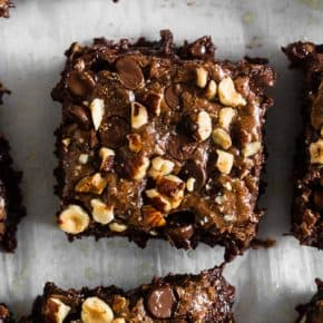 These hazelnut buckwheat brownies are packed full of dark chocolate, semisweet chocolate chips, and chopped hazelnuts. They are super fudgy and made with a delicious mix of buckwheat and white whole wheat flour. Trust me, you'll love these brownies!