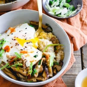 This savory Asian oat bran is simmered with spices and topped with sauteed shiitake mushrooms, fried eggs and garnished with sriracha. It's the perfect savory breakfast twist to traditional oat bran. Plus, not only does it make a great breakfast but it's also great for lunch or dinner!
