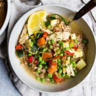 This lemon chicken vegetable farro soup is a great addition to your springtime menu. It's packed full of vegetables, bright lemon flavor and made even easier by using a rotisserie chicken. You're going to love this fast and easy soup!