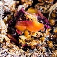 This blueberry peach cast iron crisp takes the flavor of summer and throws it together into one warm crisp topped with rolled oats and almonds. Eat it straight from the pan, cover with ice cream or throw on a dollop of whipped cream. Anyway, you choose you'll LOVE!