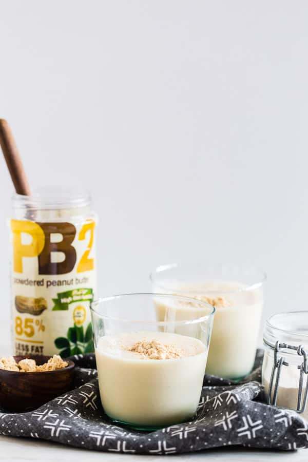 This peanut butter protein shake is the perfect meal replacement or light midday pick-me-up. Made with protein-packed fat free milk, powdered peanut butter, protein powder and an extra special ingredient to keep it extra smooth. You'll love this shake!