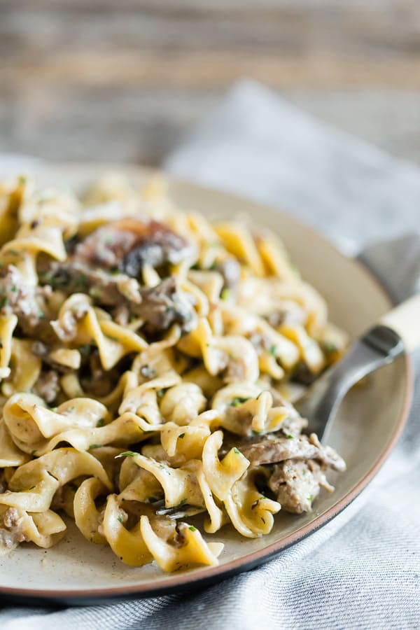 This one pot ground beef mushroom stroganoff is the perfect one pot crazy busy weeknight meal. This recipe is 100% homemade and made in just 30 minutes. Plus it's packed full of meaty mushrooms and perfectly cooked egg noodles. You'll love this dish!