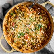 This one pot ground chicken fajita pasta is the perfect busy weeknight rush dinner. Ground chicken paired with warm spices, onions, peppers, creamy sour cream and of course - CHEESE! You'll love how easy this dish is to make and it's only one pot!