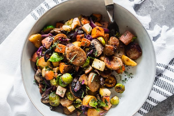 This chicken sausage fall vegetable hash is PACKED full of seasonal vegetables and apple chicken sausage. You'll love how easy this dish comes together and can be customized to include almost any vegetable you have in the house. Hearty, delicious and perfect for fall.