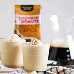 This Dunkin' Donuts® Pumpkin Spice coffee protein shake is the perfect breakfast meal or an afternoon pick-me-up. Made with super flavorful pumpkin spice coffee mixed with protein powder, high protein skim milk and topped with whipped cream and a dash of pumpkin pie spice.