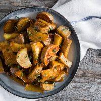 Roasted White Sweet Potatoes with Honey Cinnamon Glaze