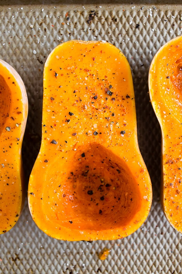 sliced and seasoned honeynut squash