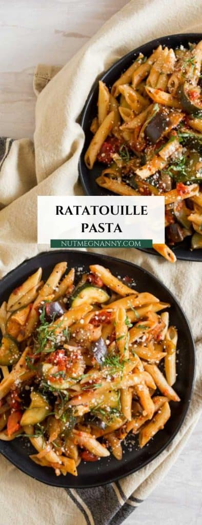 This ratatouille pasta is made with fresh vegetables and herbs and packed full of flavor. You'll love how easy it is to throw together.