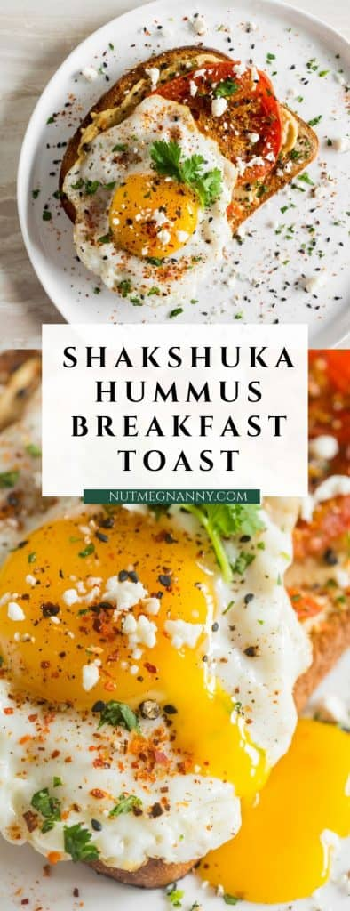 This shakshuka hummus toast is a flavorful and healthy way to start the day. Ras el hanout roasted tomato slices layered on top of hummus spread toast with a friend egg, cilantro and feta cheese.
