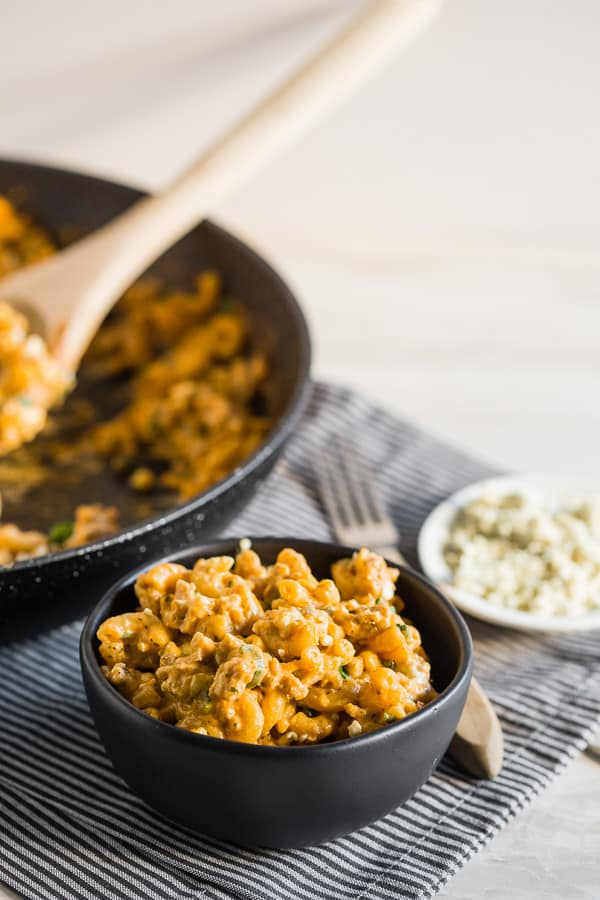 This one pot buffalo chicken pasta is PACKED full of flavor and made in just one pot, or skillet. It only uses a few simple ingredients and is ready in just 30 minutes. Trust me, you'll love this simple supper.