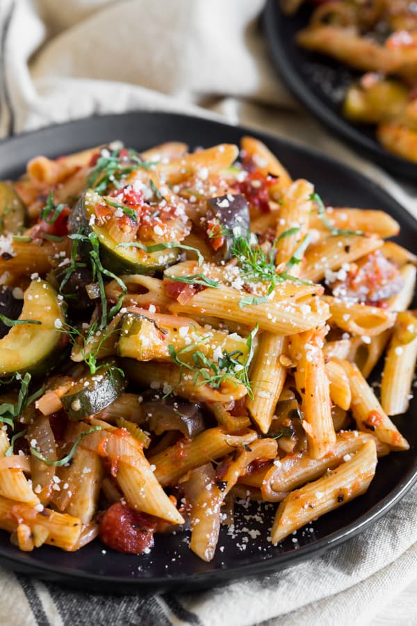 This ratatouille pasta is full of fresh vegetables, herbs and chunky tomatoes. It's the perfect meatless Monday meal!