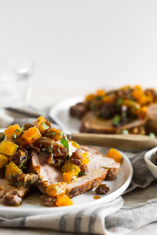 This roast pork loin with dried fruit compote is packed full of flavor and the compote is super easy to make.
