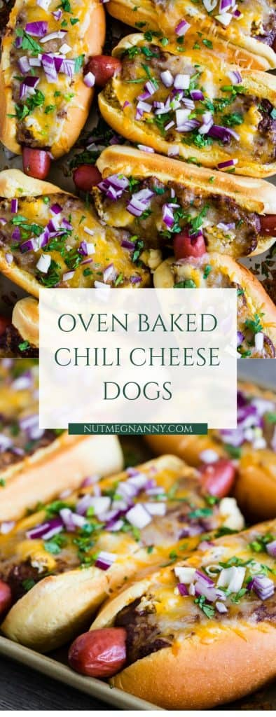 These oven baked chili cheese dogs are the perfect Super Bowl and game day treat. Made right on a sheet pan and then oven baked until hot and melty. You'll love this simple party perfect dish!