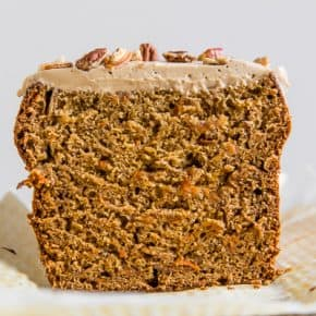 This carrot cake banana bread is topped with a creamy maple cream cheese frosting and the perfect use for ripe bananas. It's a flavorful twist to a classic quick bread that you're sure to love.