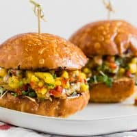 Chipotle Chicken Burgers Topped with Mango Salsa