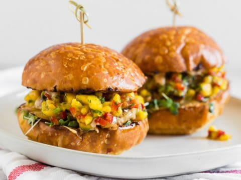 Chipotle Chicken Burgers Topped With Fresh Mango Salsa