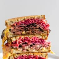 This grilled pastrami and root vegetable slaw sandwich is the perfect autumn sandwich. It's grilled until the outside is crispy and the inside is perfectly warmed through. Plus, the addition of a homemade root vegetable slaw takes this sandwich to a whole new level of deliciousness.