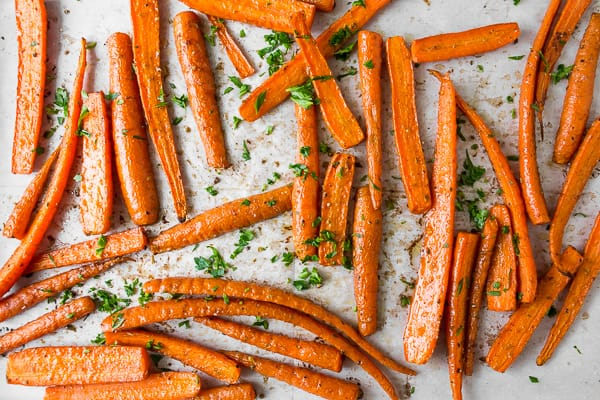 best easy roasted carrots on a sheet pan overhead