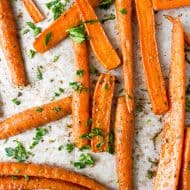 overhead shot of the best easy roasted carrots