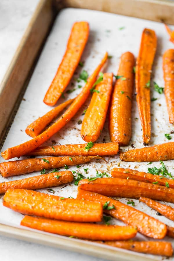 best easy roasted carrots on a sheet pan