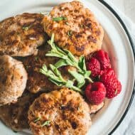 raspberry herb chicken sausage patties on a plate