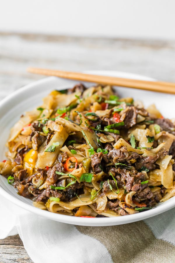 head on shot of Thai Beef Drunken Noodles