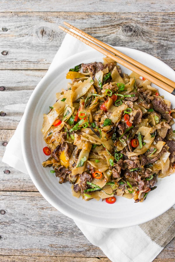 a large bowl full of Thai Beef Drunken Noodles