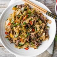 horizontal photo of Thai Beef Drunken Noodles