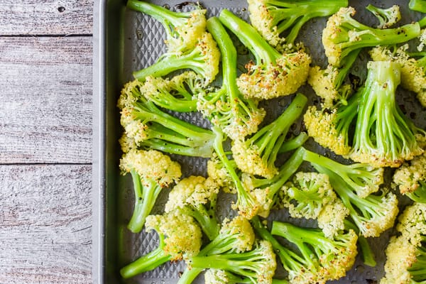 How to Roast Caulilini Baby Cauliflower roasted on a sheet pan