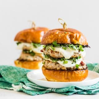 horizontal photo of sun dried tomato chicken burgers
