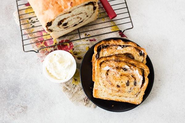 sliced and toasted cinnamon raisin sourdough bread
