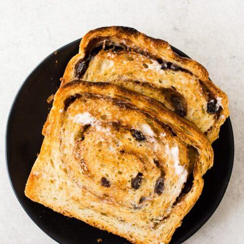 cinnamon raisin sourdough bread sliced and toasted
