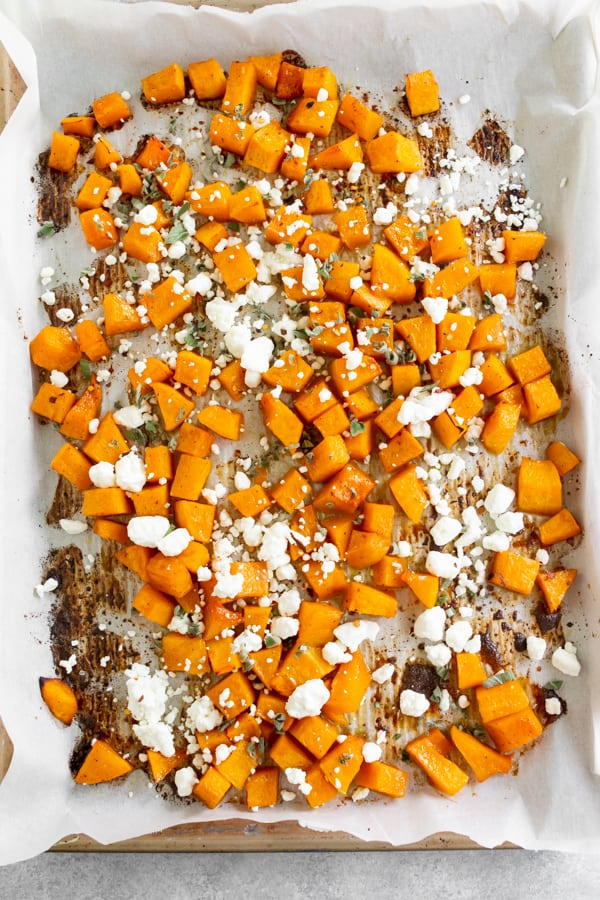 honey roasted butternut squash on a sheet pan