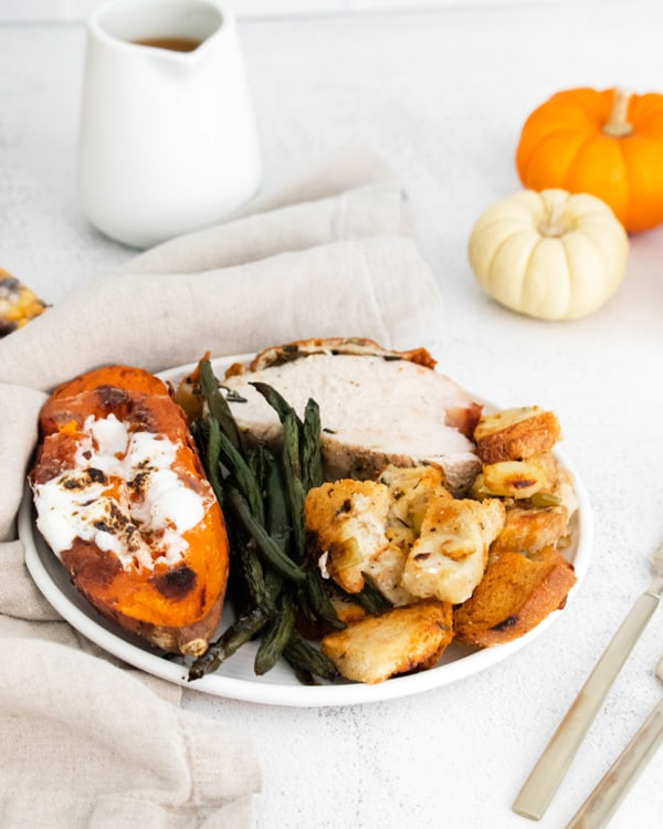 Sheet Pan Thanksgiving recipe on a plate