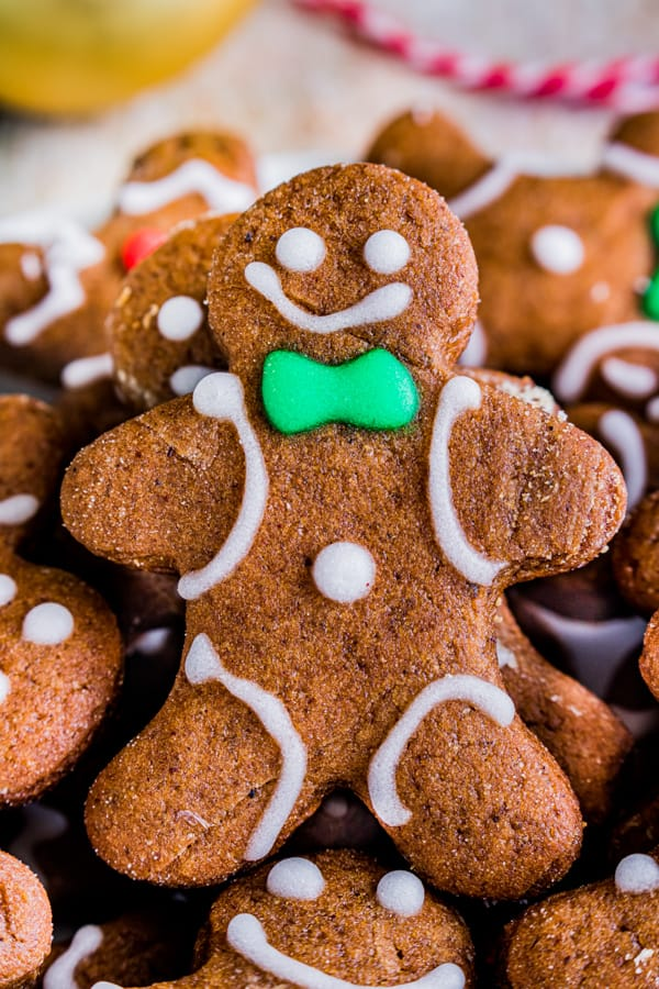 close up of soft gingerbread cutout cookies
