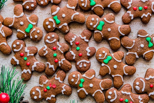 lots of soft gingerbread cutout cookies