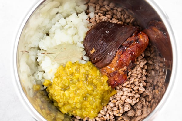 Ingredients in the pot for Instant Pot pinto beans